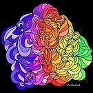 Floral Rainbow Pattern on Black Background by CarolineLembke