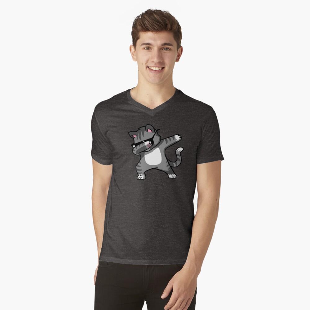 Dabbing Cat Funny Hip Hop T-shirt V-Neck T-Shirt