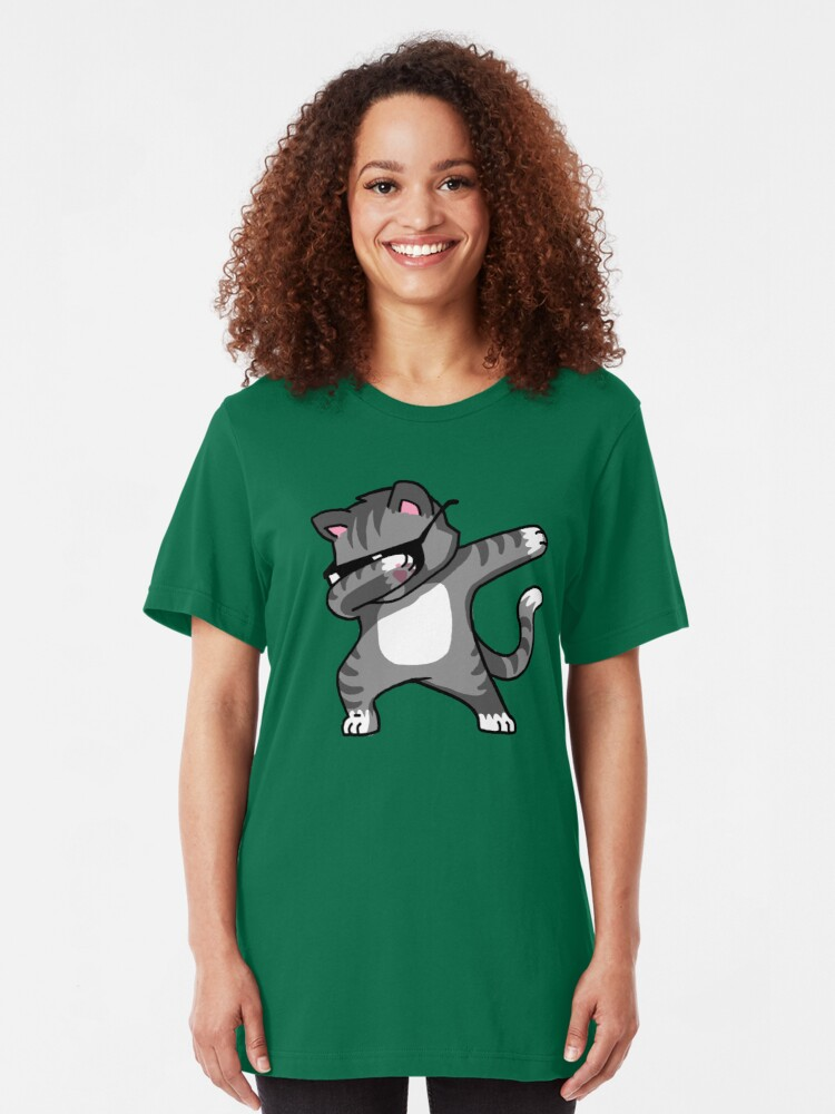 Vista alternativa de Camiseta ajustada Dabbing Cat Funny Hip Hop camiseta