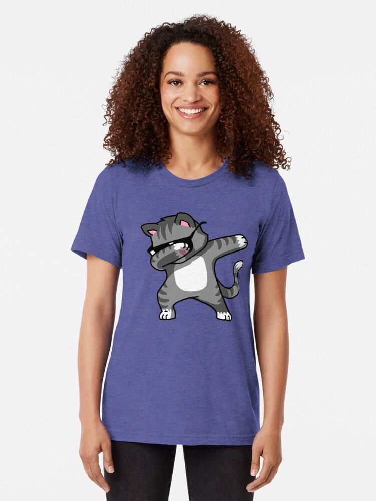 Alternate view of Dabbing Cat Funny Hip Hop T-shirt Tri-blend T-Shirt