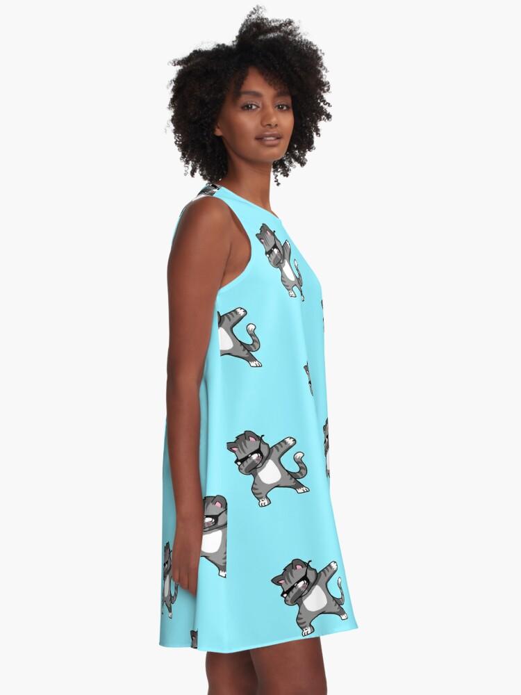 Alternate view of Dabbing Cat Funny Hip Hop T-shirt A-Line Dress