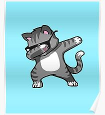 Tupfendes Katzen-lustiges Hip Hop-T-Shirt Poster