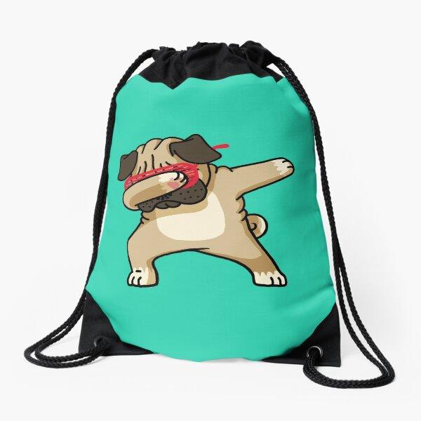 Dabbing Pug funny hip hop tshirt Drawstring Bag