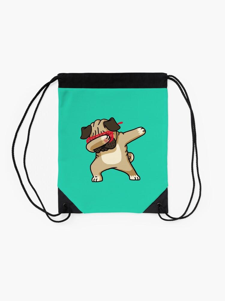 Alternate view of Dabbing Pug funny hip hop tshirt Drawstring Bag