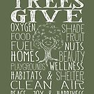Trees Give - Oxygen, Food, Fuel, Homes... Cute Tree - white by jitterfly