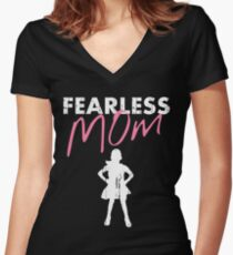 Fearless Girl - MOM - Pink Women's Fitted V-Neck T-Shirt