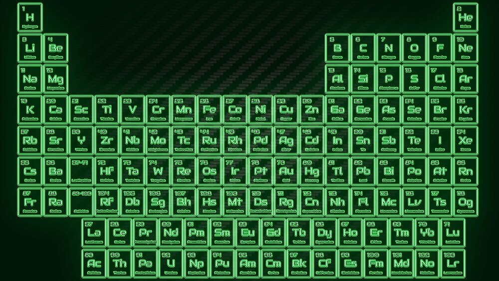 Green Glow Tube Periodic Table by sciencenotes