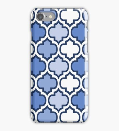 Blue and White Quatrefoil Pattern iPhone Case/Skin