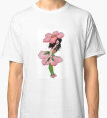 Cute Vintage Flower Child Pink Wild Rose Girl Classic T-Shirt