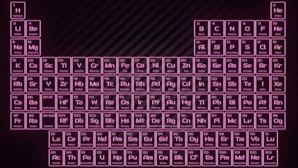 Pink Glow Tube Periodic Table by sciencenotes