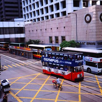 Hong Kong Island tram and buses - May 2002 by PaulK