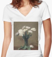 Henri Fantin Latour - Poppies 1891 Women's Fitted V-Neck T-Shirt