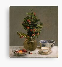Henri Fantin Latour - Still Life With Vase Of Hawthorn, Bowl Of Cherries, Japanese Bowl, And Cup And Saucer 1872 Canvas Print
