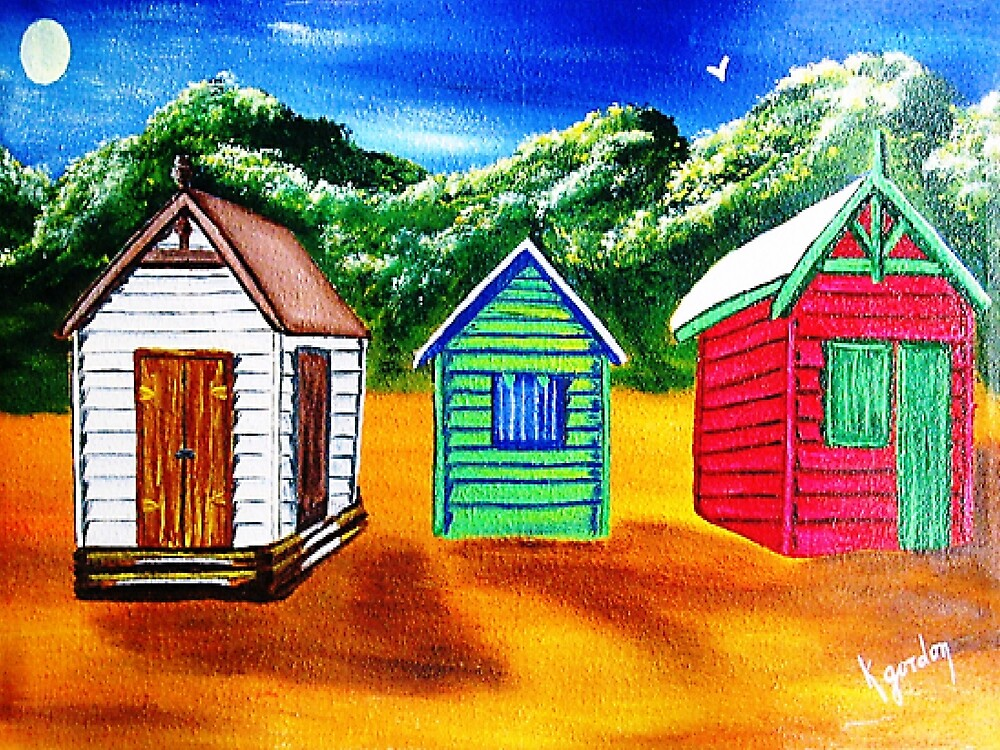 Three Shacks on Sugar Beach by WhiteDove Studio kj gordon