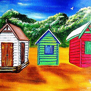 Three Shacks on Sugar Beach by kjgordon