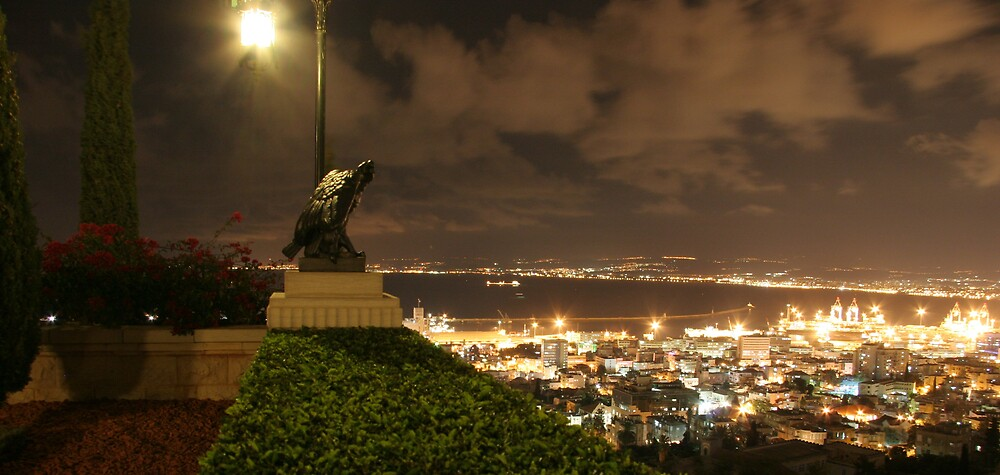Outlook from the Baha'i Gardens-Mt Carmel onto the Bay of Haifa, Israel by Anthony  Ket
