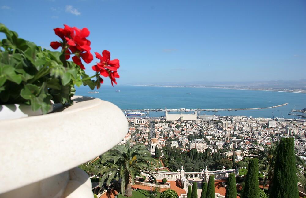 Outlook from the Baha'i Gardens-Mt Carmel towards the Bay of Haifa, Israel by Anthony  Ket