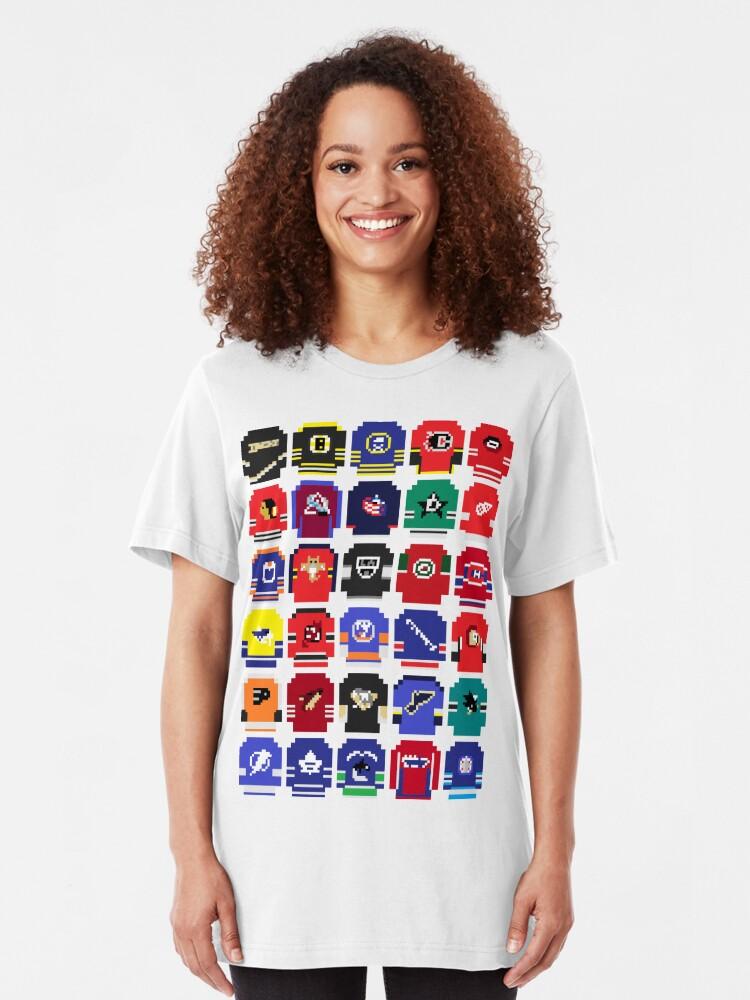 Alternate view of 8-Bit Hockey Jerseys Slim Fit T-Shirt