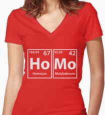 Homo (Ho-Mo) Periodic Elements Spelling Women's Fitted V-Neck T-Shirt