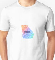 Macon, Georgia Multi-Colored Geometry Pattern State Silhouette T-Shirt