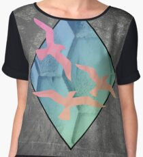 Vintage Geometric Birds Chiffon Top