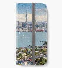 cityscape with famous Sky Tower - New Zealand, Auckland city iPhone Wallet