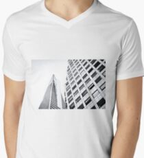pyramid building and modern building at San Francisco, USA in black and white Men's V-Neck T-Shirt