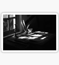 The Writing Desk Black and White  Sticker
