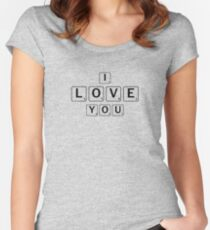 """Cute """"I Love You"""" Scrabble Tiles- For Couples, Best Friends Women's Fitted Scoop T-Shirt"""