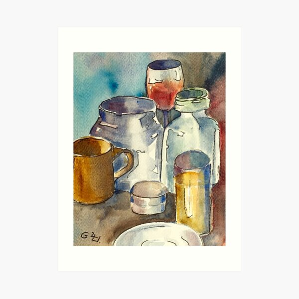 Still Life with Wine Glass Art Print