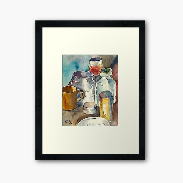 Still Life with Wine Glass Framed Art Print