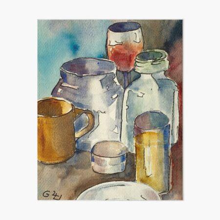 Still Life with Wine Glass Art Board Print