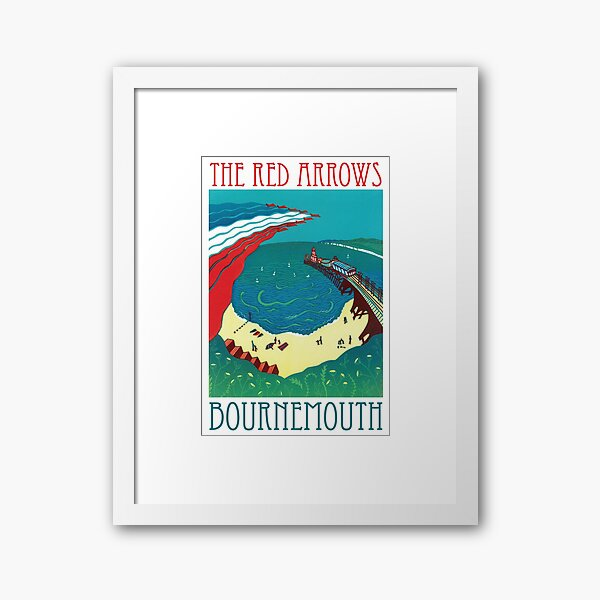 Red Arrows, Bournemouth - Original Linocut by Francesca Whetnall Framed Art Print