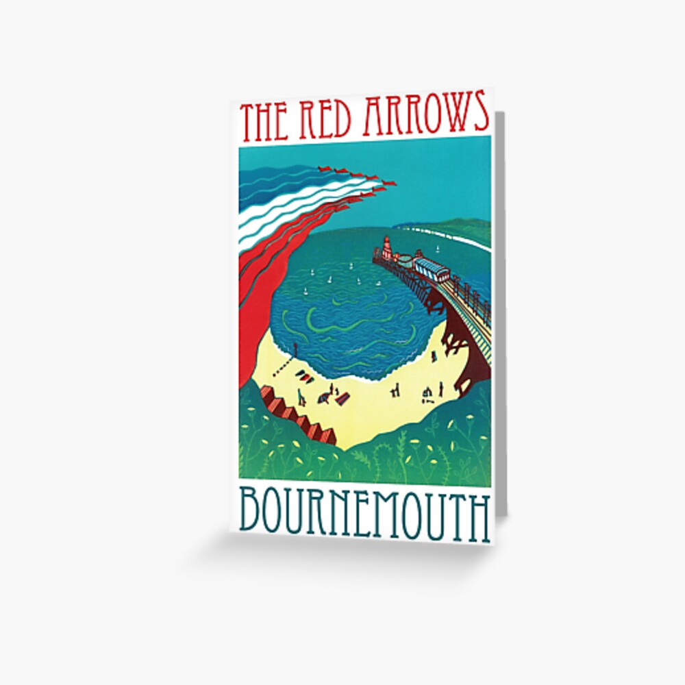 Red Arrows, Bournemouth - Original Linocut by Francesca Whetnall Greeting Card