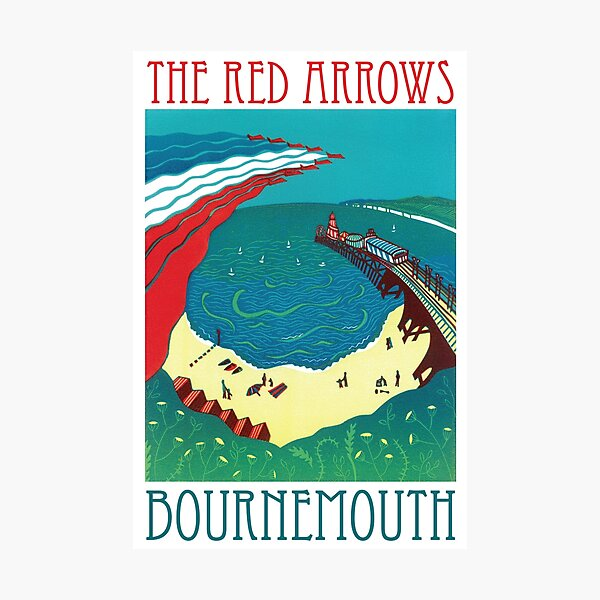 Red Arrows, Bournemouth - Original Linocut by Francesca Whetnall Photographic Print