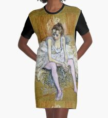 Henri De Toulouse Lautrec - A Seated Dancer With Pink Stockings Graphic T-Shirt Dress