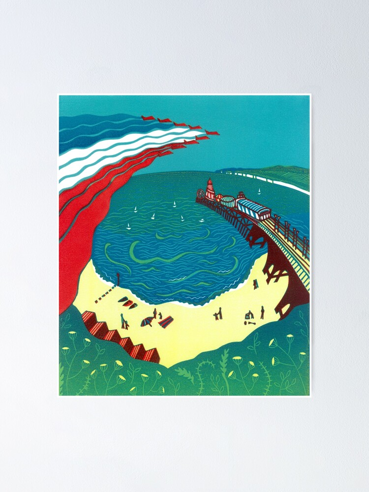 Alternate view of Red Arrows, Bournemouth Beach - Original linocut by Francesca Whetnall Poster