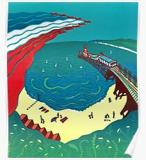 Red Arrows, Bournemouth Beach - Original linocut by Francesca Whetnall Poster