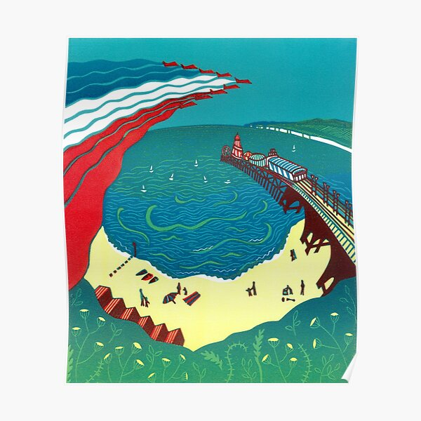 Red Arrows, Bournemouth Beach - Original linocut by Francesca Whetnall Poster