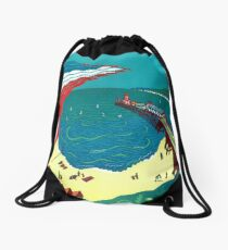 Red Arrows, Bournemouth Beach - Original linocut by Francesca Whetnall Drawstring Bag