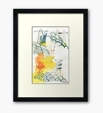 abstract, Landschaft, ink painting, Chinese landscape, Malerei Framed Print