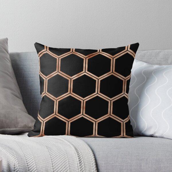 Black onyx copper hexagons Throw Pillow