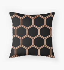 Black onyx copper hexagons Throw Pillow