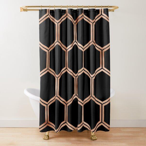 Black onyx copper hexagons Shower Curtain
