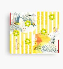 asien style,abstrakt,stripe patterns, Landschaft,landscape,cube Canvas Print