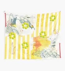 asien style,abstrakt,stripe patterns, Landschaft,landscape,cube Wall Tapestry