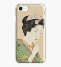 Hashiguchi Goyo - Girl With A Rouge Brush iPhone Case/Skin
