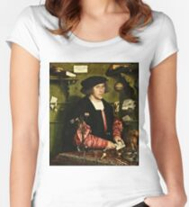 Hans Holbein The Younger - The Merchant Georg Gisze 1532 Women's Fitted Scoop T-Shirt
