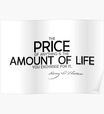 price: amount of life - thoreau Poster
