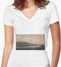 Haes, Carlos De - Villerville Beach (Normandy) Women's Fitted V-Neck T-Shirt